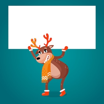 Christmas reindeer holding blank banner