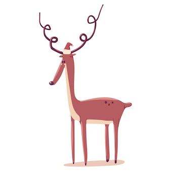 白い背景で隔離のサンタ帽子のクリスマストナカイ。