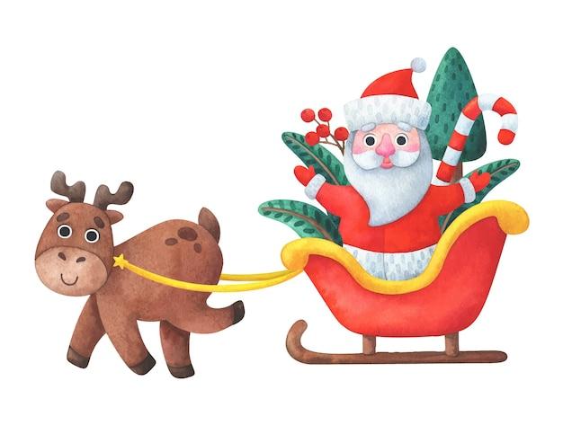 Christmas reindeer is driving santa claus in a sleigh.
