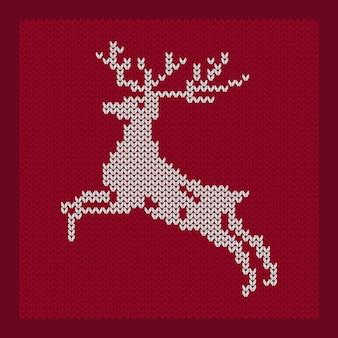 크리스마스 순록 북부 사슴 뜨개질의 계획 벡터 일러스트 레이 션