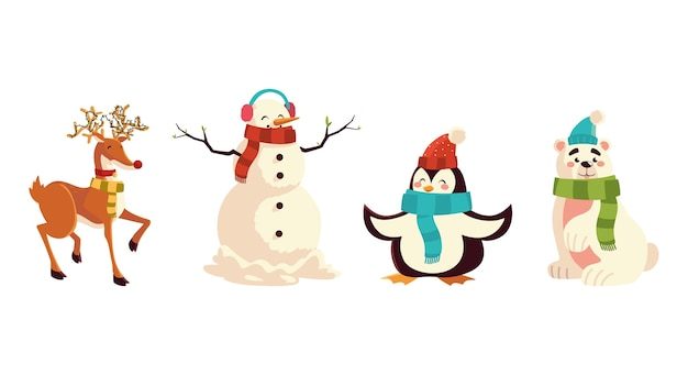 Christmas reindeer penguin bear and snowman characters icons illustration