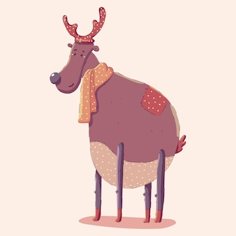Christmas reindeer in scarf   isolated on background.