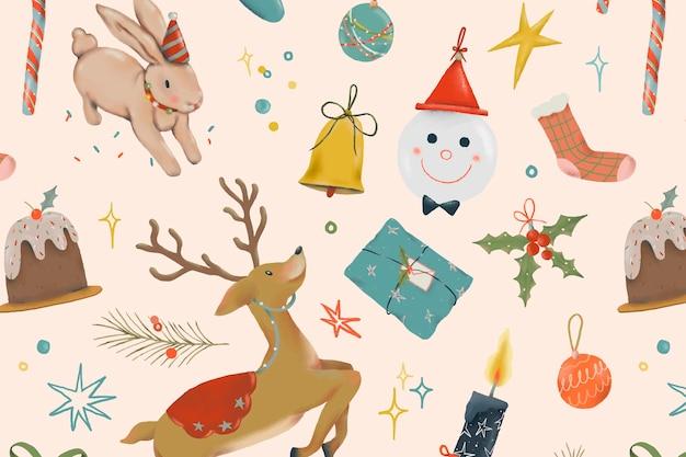 Christmas reindeer seamless pattern background, cute holidays season illustration vector