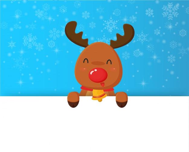 Christmas reindeer and snowflake with blank banner.