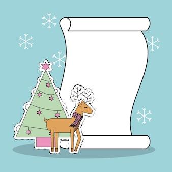 크리스마스 순록 나무와 목록 선물 눈 배경