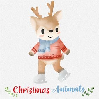 紙の背景とクリスマストナカイ水彩イラストデザインプリント生地やバック