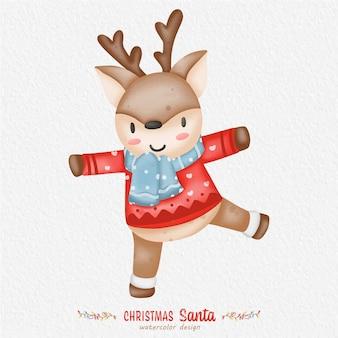 紙の背景とクリスマストナカイの水彩イラスト。デザイン、プリント、ファブリック、または背景用