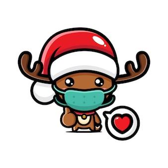 Christmas reindeer wearing mask vector design