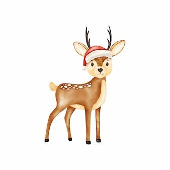Рождественский олень в шляпе санта клауса