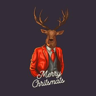 Christmas reindeer wears blazzer