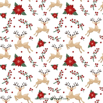 Christmas reindeers and mistletoe pattern