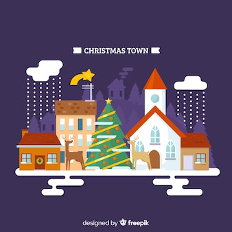 Christmas reindeers town background