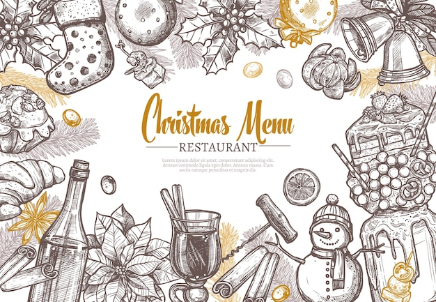 Christmas restaurant festive menu template.