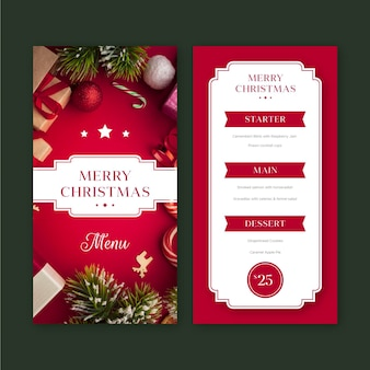 Christmas restaurant menu template with photo