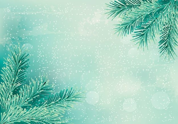 Christmas retro background with christmas tree branches.