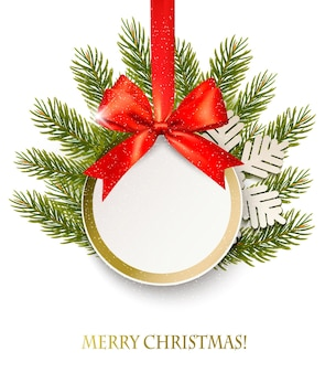 Рождественский ретро-фон с подарочной картой ветвей деревьев