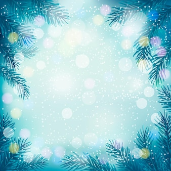 Christmas retro background with tree branches and snowflakes.  .