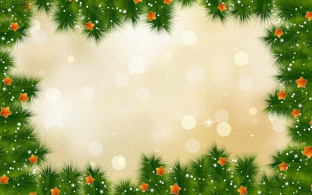 Christmas retro background with tree branches.