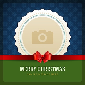 Christmas retro card and place for photo