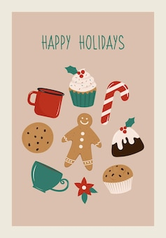 Christmas retro greeting card with happy holiday wishes writing and bakery food illustration