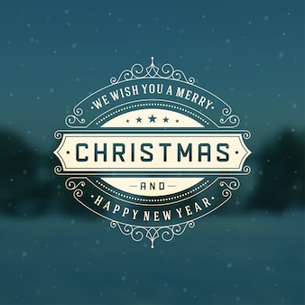 クリスマスのレトロなロゴ、装飾的な装飾が施されたエンブレム。グリーティングカードのデザイン、ビンテージスタイル。