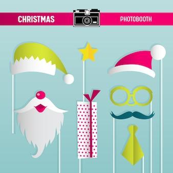 ベクトルのフォトブース小道具のためのメガネ、帽子、口ひげ、ひげ、マスクのクリスマスレトロパーティーセット