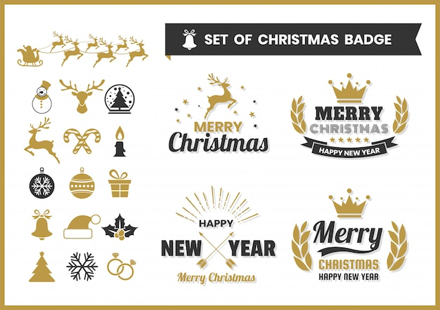 Christmas retro vector badge and elements set