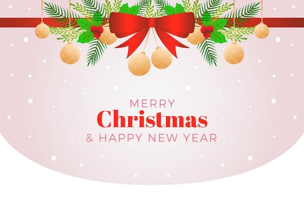 Christmas ribbon background and hanging christmas balls