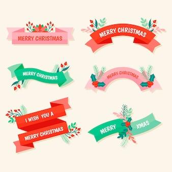 Collezione di nastri natalizi in design piatto
