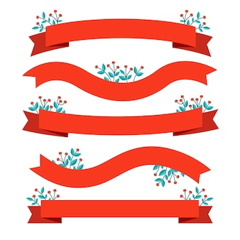 Christmas ribbon collection in flat design