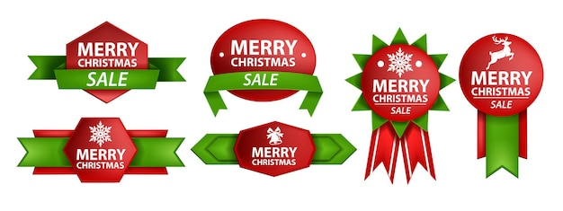 Christmas ribbon vector sale banner set holiday xmas label design kit classic bonus sticker