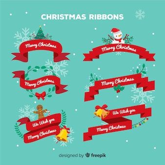 Christmas ribbons set with characters