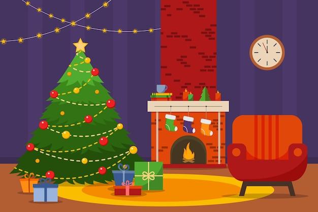 クリスマスルームのインテリア。クリスマスツリー、アームチェア、暖炉、ギフト、靴下、フラットスタイルのベクトルイラスト。