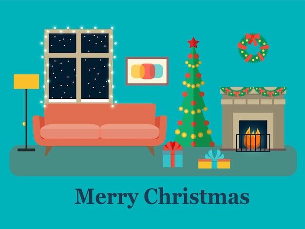 Christmas room interior. christmas tree, fireplace and sofa. vector flat illustration
