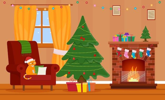 크리스마스 방 인테리어입니다. 크리스마스 트리, 선물, 벽난로 및 장식