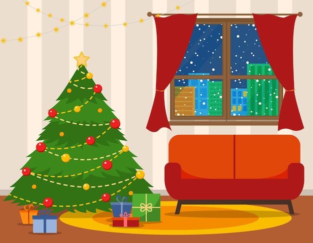 クリスマスルームのインテリア。ソファ付きのクリスマスツリー。フラットスタイルのベクトル図です。