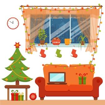 화려한 만화 플랫 스타일의 크리스마스 룸 인테리어