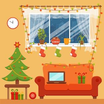 カラフルな漫画のフラットスタイルのクリスマスの部屋のインテリア