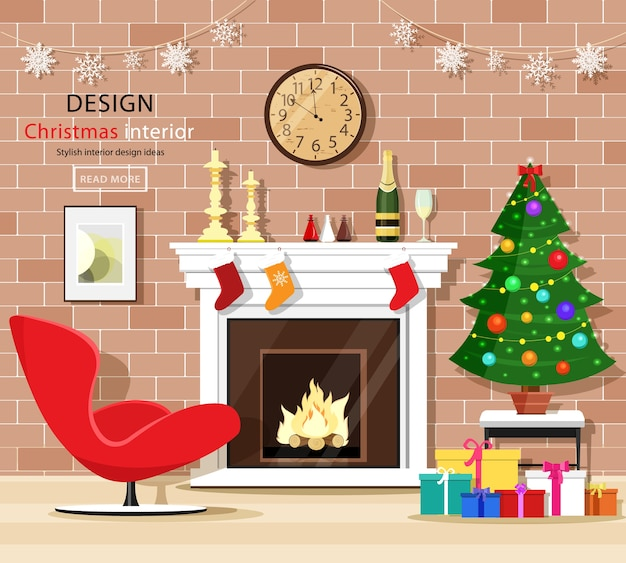 Christmas room interior set with christmas tree, fireplace, armchair, gift boxes and old clock.  illustration.