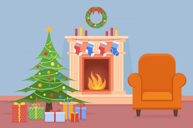 Рождественский интерьер комнаты с камином, деревом, подарками и креслом в плоском стиле.