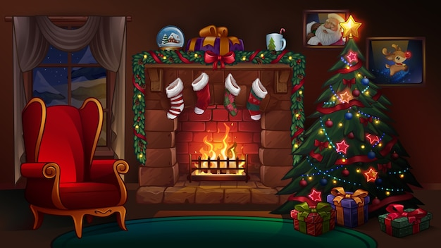 Christmas room with fireplace.  illustration