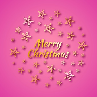 Christmas round banner with gold snowflakes and shadows on pink background and inscription merry christmas. vector illustration