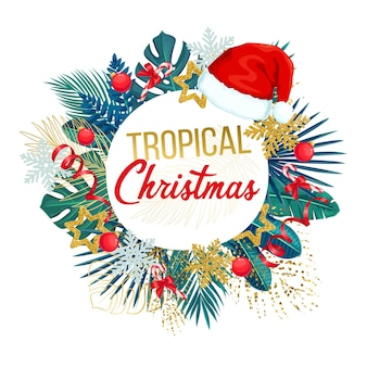 Christmas round banner with tropical green leaves, santa hat and holiday decorations.