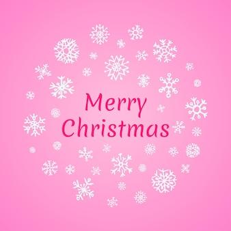 ピンクの背景と碑文メリークリスマスに白い雪のクリスマスラウンドバナー。ベクトルイラスト
