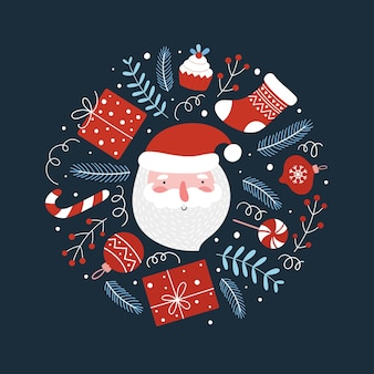 Christmas round composition with funny santa, gifts and lollipops. vector illustration for the decoration of christmas and new year cards, prints.