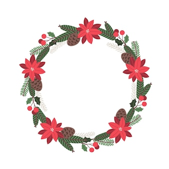 Christmas  round floral wreath of poinsettia firtree and holly branchesconesvector greeting card