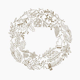 Christmas round frame decorative elements doodle made of leaves and holiday symbols hand drawing illustration