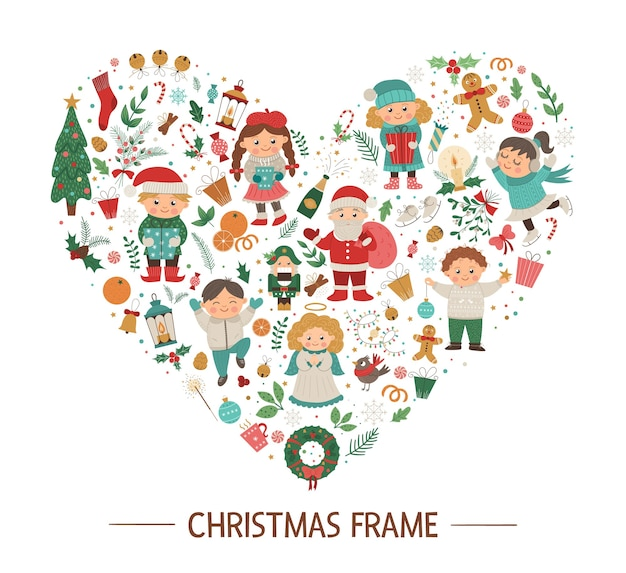 子供、サンタクロース、紺色の背景に天使とクリスマスラウンドフレーム。