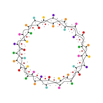 흰색 배경에 고립 된 다채로운 빛나는 전구와 크리스마스 라운드 프레임