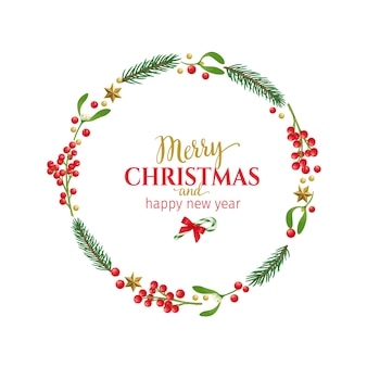 Рождественская круглая рамка с веточками омелы, еловыми ветками, красными ягодами и праздничными украшениями.